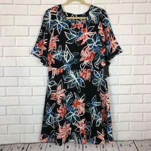 New ELOQUII Black Floral Dress sz 14 Flare